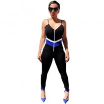 Block Color V Neck Straps Jumpsuit