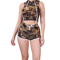 Camo Print Hooded Two Piece Shorts Set