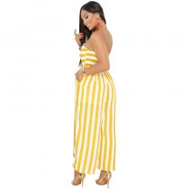 Mabel Mustard Striped Strapless Jumpsuit