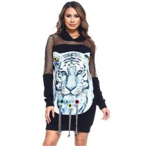 Mesh Tiger's Head Stickers Hooded Nightclubs Dress