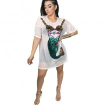 Short Sleeve Round Neck Short Abstract Embroidery Dress