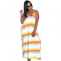 "The ""Orange"" Color Block Maxi Dress"