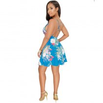 Backless Print Strap Dress