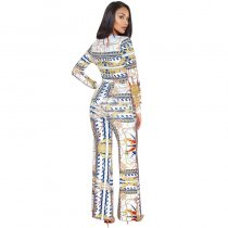 Deep V Digital Print Jumpsuit With Wide Leg