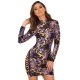 Purple And Gold Sequin Mini Dress