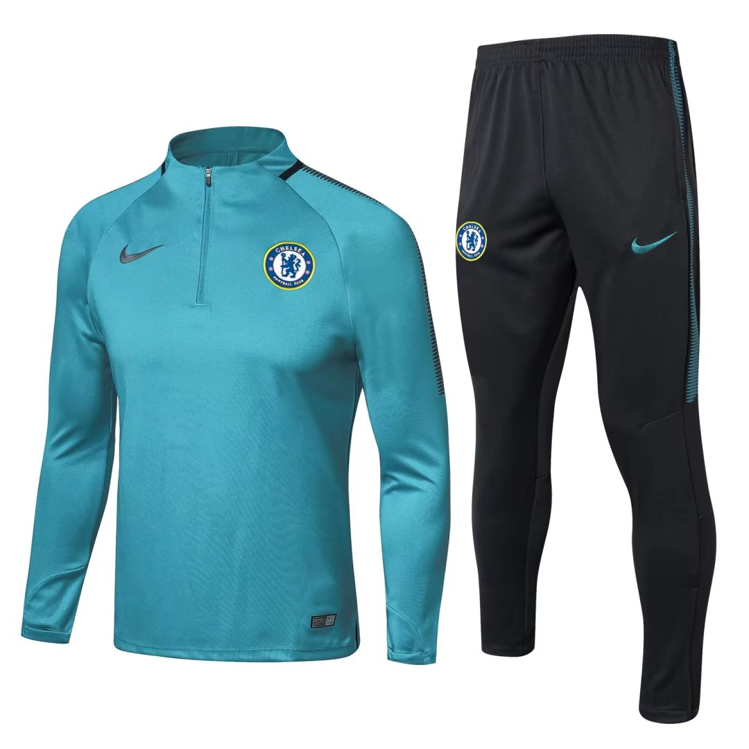 detailing 68add f0f07 Chelsea Training Suit Zipper Cyan 2017/18
