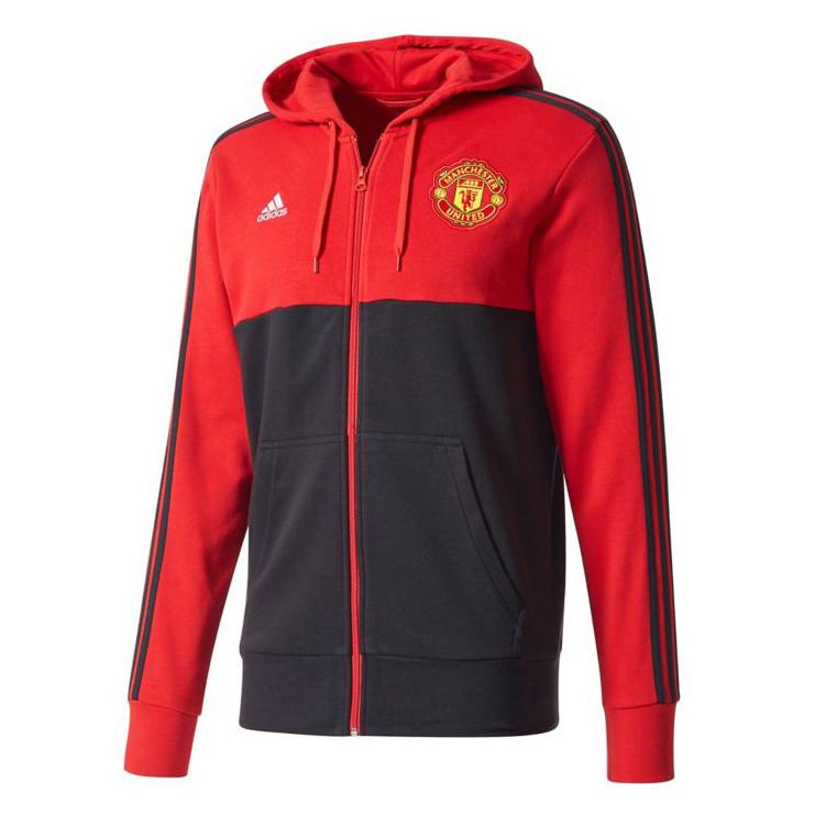 US$ 26.8 - Manchester United 3-Stripe Hoodie Jacket Red Men 2017/18 -  www.soccerworldfc.net