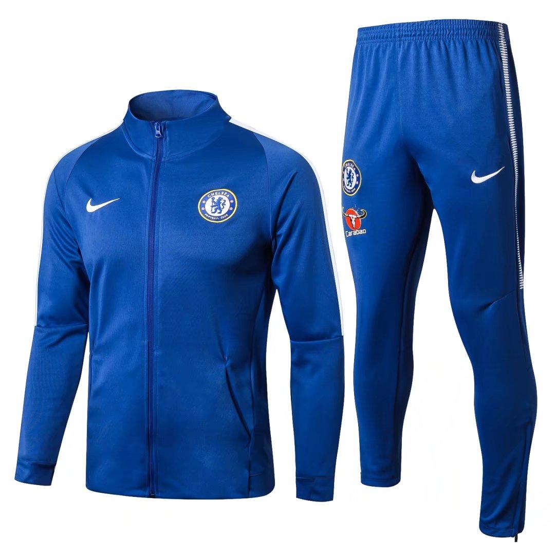 US$ 36.8 - Chelsea Jacket + Pants Training Suit High Neck Blue 2017/18 -  www.soccerworldfc.net