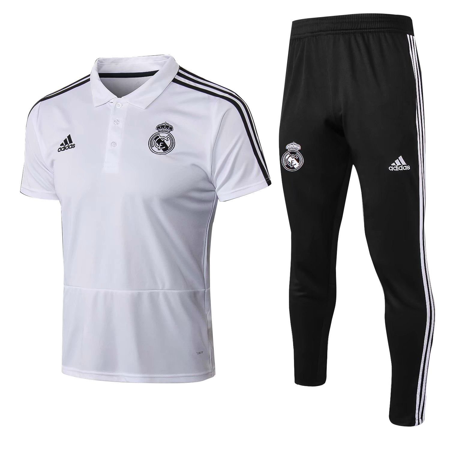 95b7df27263 US  29.8 - Real Madrid Polo + Pants Training Suit White 2018 19 -  www.fcsoccerworld.com