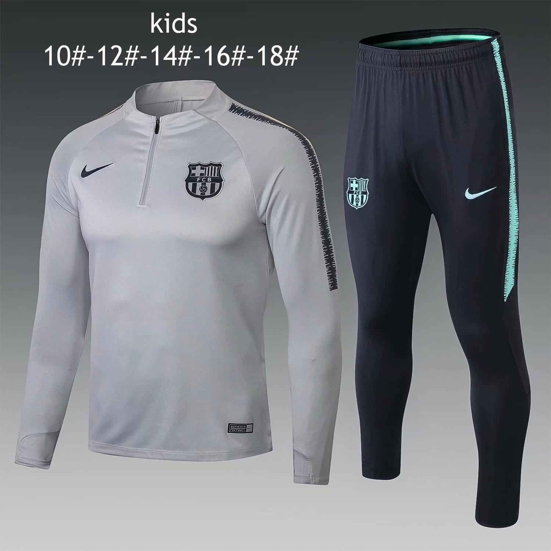 028eab165 US  29.8 - Kids Barcelona Training Suit Light Grey 2018 19 -  www.fcsoccerworld.com