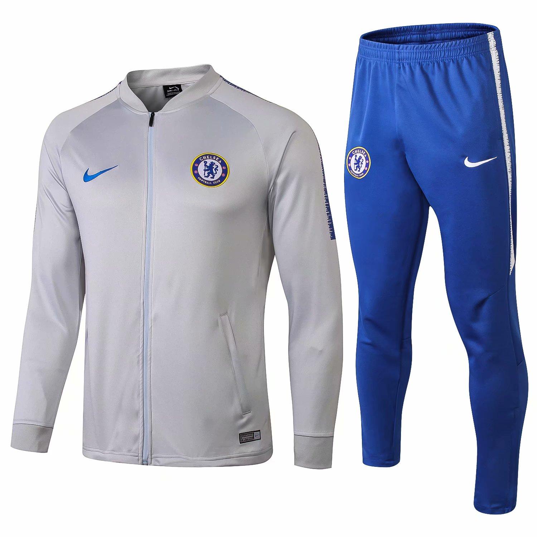 2389a41e4 US  37.8 - Chelsea Jacket + Pants Training Suit Light Grey 2018 19 -  www.fcsoccerworld.com