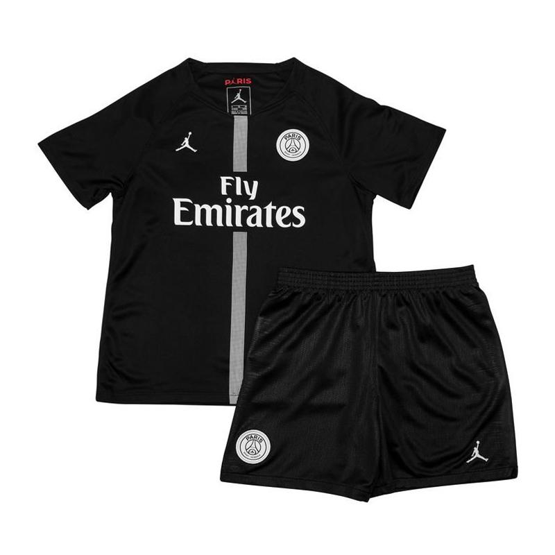 dfb4e33eacc5cc US  14.8 - PSG x Jordan Third Black Jersey Kids  2018 19 -  www.fcsoccerworld.com