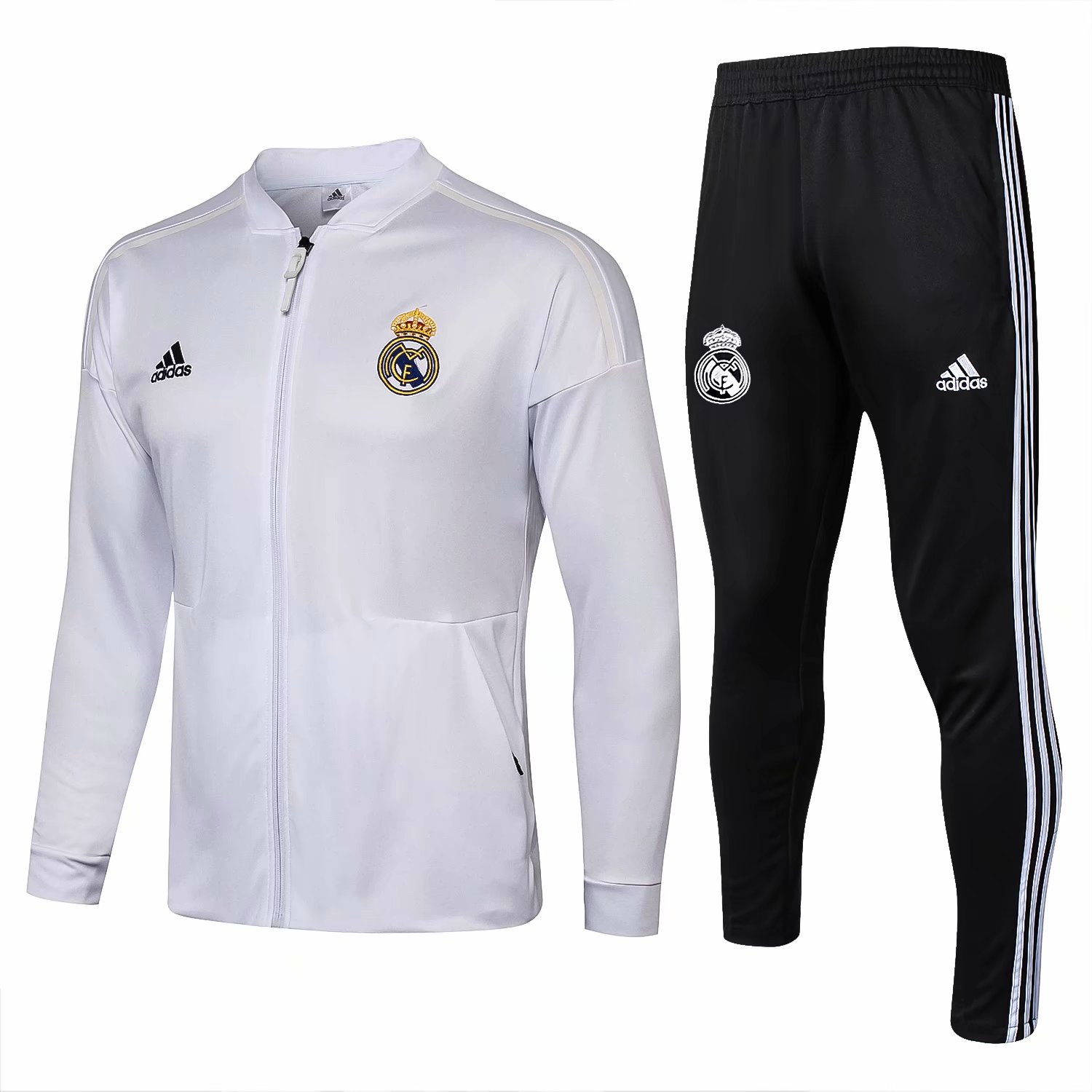 39764e1b2 US  37.8 - Real Madrid Adidas ZNE Jacket + Pants Training Suit Low Neck White  2018 19 - www.fcsoccerworld.com