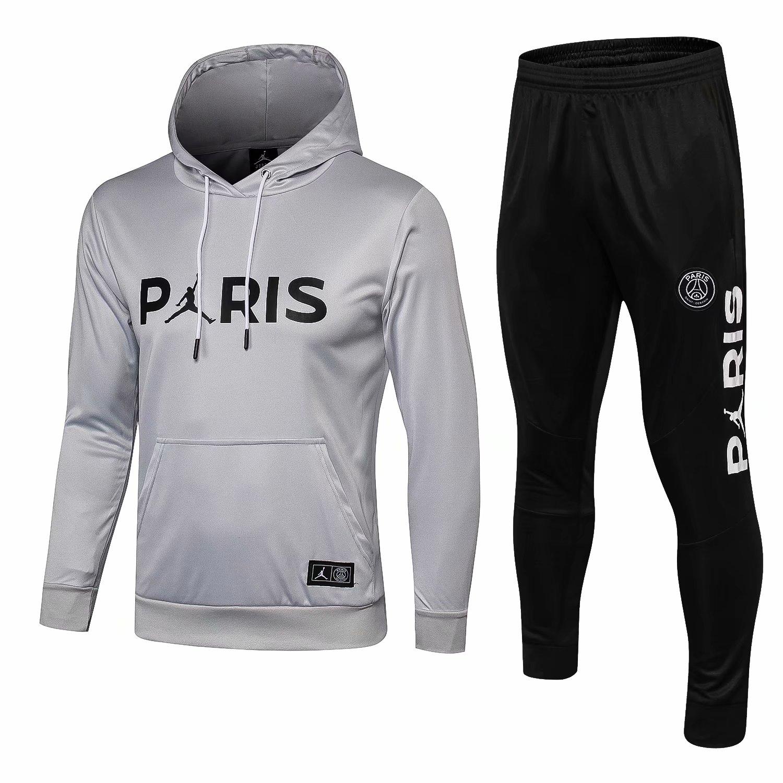 0b5d3e09 US$ 36.8 - PSG JORDAN Light Grey Hoodie Sweatshirt + Pants Suit 2018/19 -  www.fcsoccerworld.com