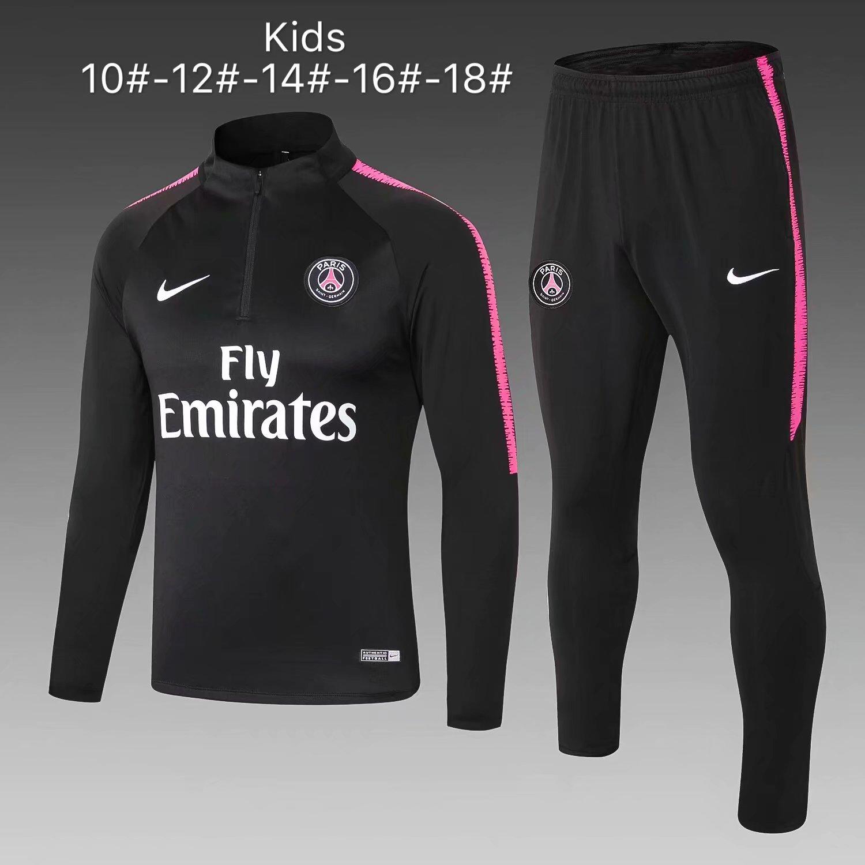 1190aa84d US$ 29.8 - Kids PSG Training Suit Black 2018/19 - www.fcsoccerworld.com