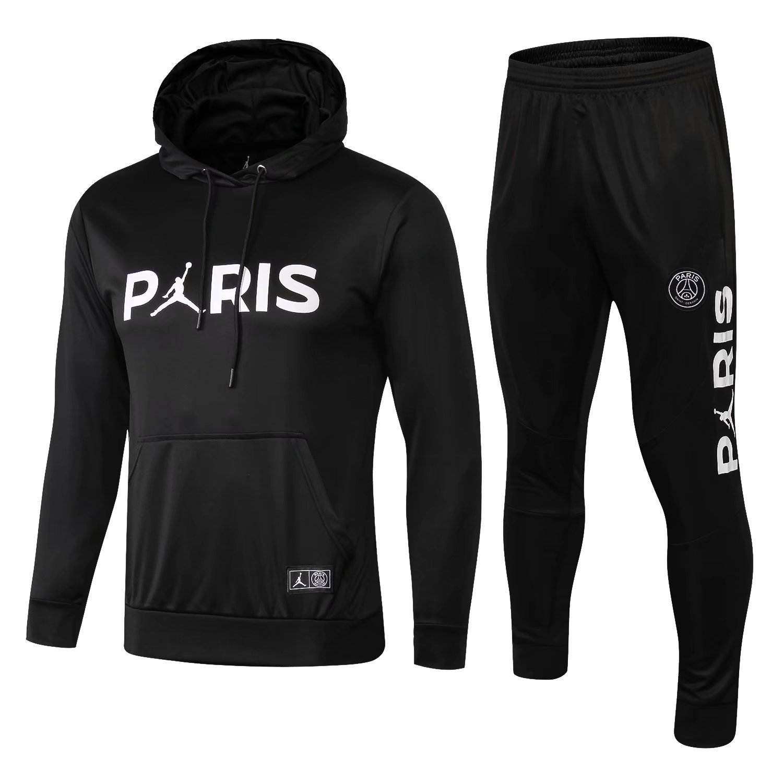 cf0928b9b70 US$ 36.8 - PSG JORDAN Black Hoodie Sweatshirt + Pants Suit 2018/19 -  www.fcsoccerworld.com