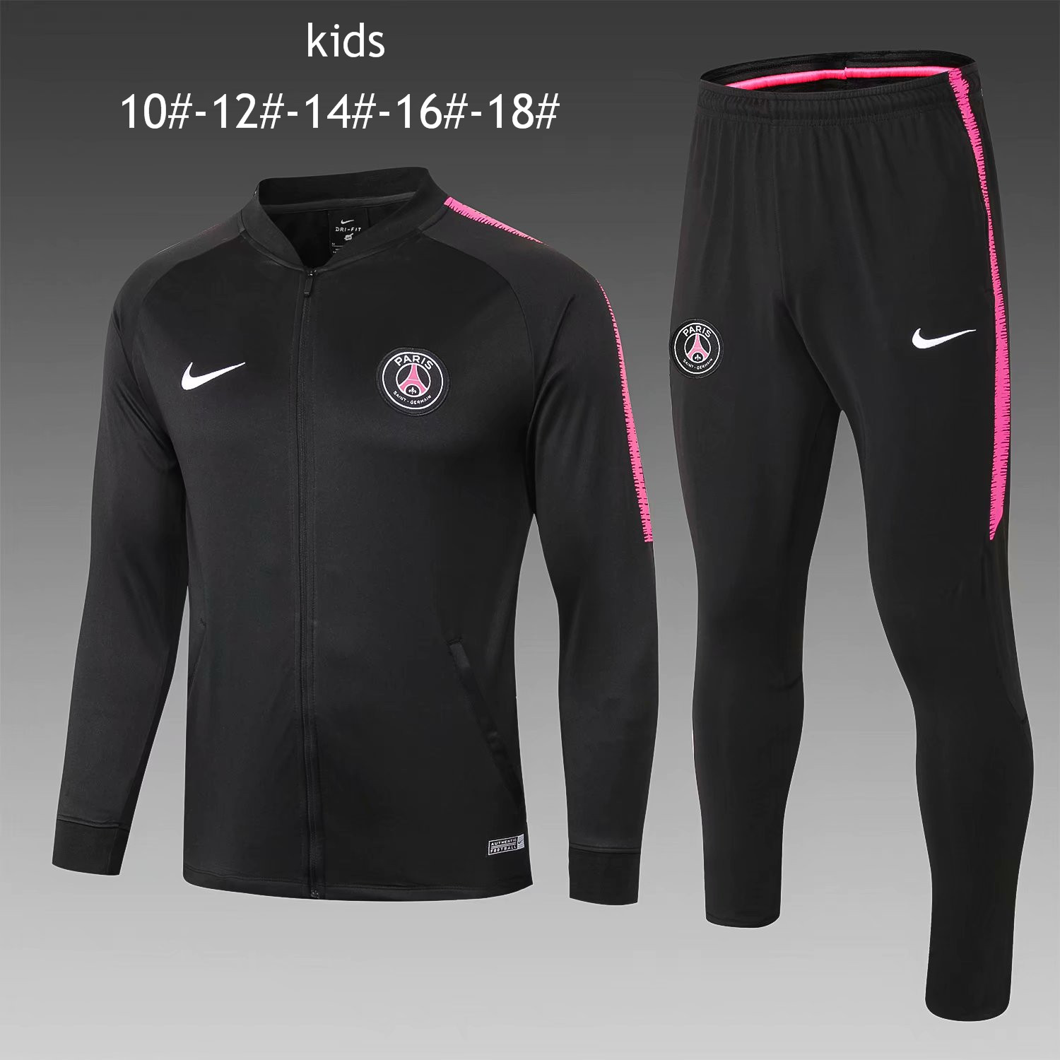 bb40883e3 US$ 32.8 - Kids PSG Jacket + Pants Training Suit Black 2018/19 -  www.fcsoccerworld.com