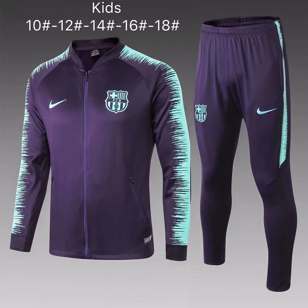00d9cedf78e US$ 33.8 - Kids Barcelona Jacket + Pants Training Suit Purple Stripe  2018/19 - www.fcsoccerworld.com