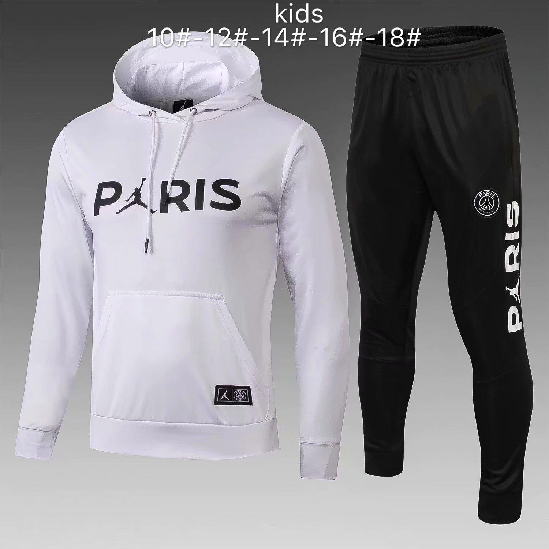 0bc67ae28a306d US  33.8 - Kids PSG JORDAN White Hoodie Sweatshirt + Pants Suit 2018 19