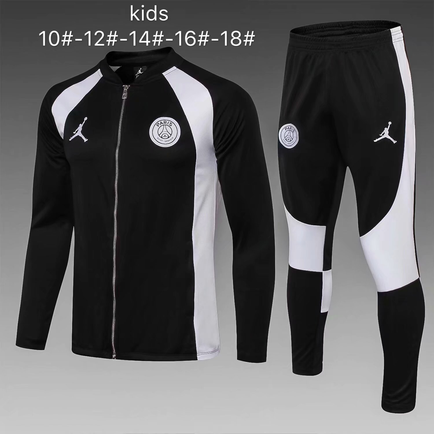 e4b4c7bbb93 US$ 32.8 - Kids PSG x Jordan Flight Knit Jacket + Pants Training Suit Black  2018/19 - www.fcsoccerworld.com