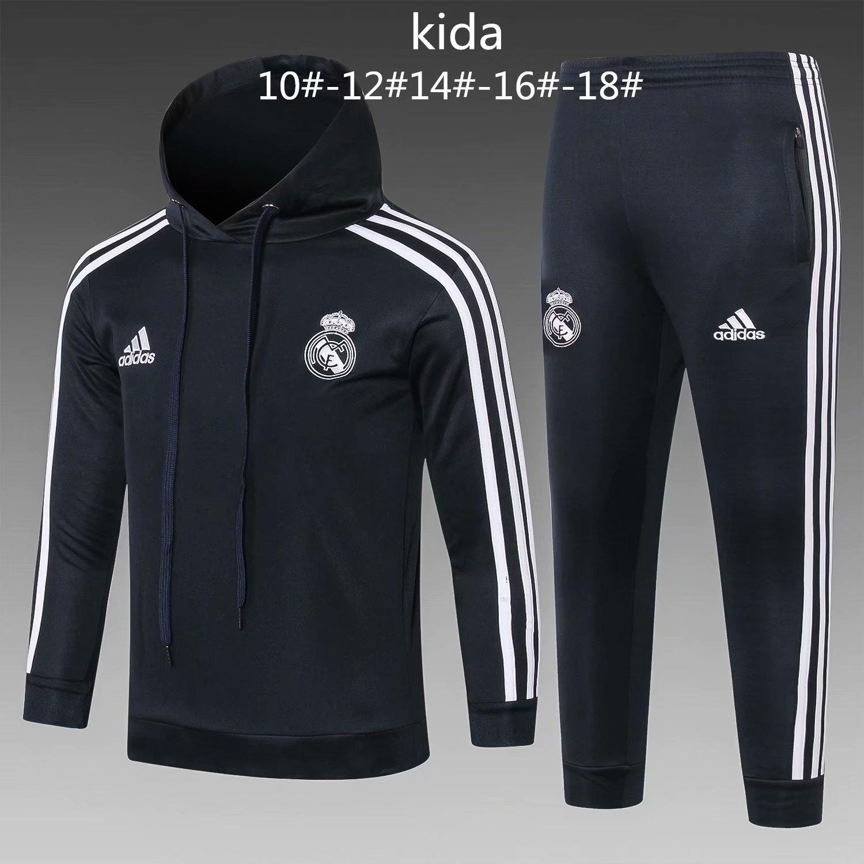 1da1a0d6a US  33.8 - Kids Real Madrid Dark Grey Hoodie Sweatshirt + Pants Suit  2018 19 - www.fcsoccerworld.com