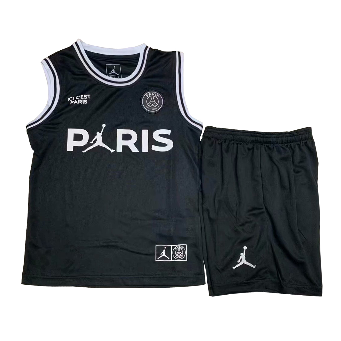 US  14.8 - PSG x Jordan Third Black Basketball Jersey Kids  2018 19 -  www.fcsoccerworld.com 0fb58bd26