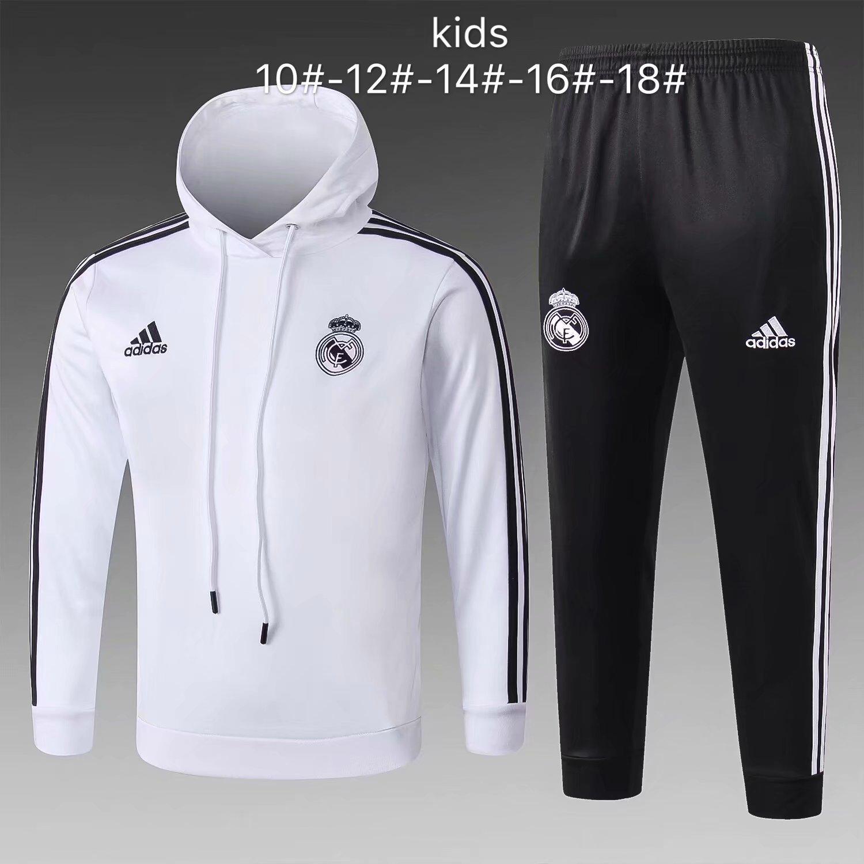 b264c57c3 US  33.8 - Kids Real Madrid White Hoodie Sweatshirt + Pants Suit 2018 19 -  www.fcsoccerworld.com