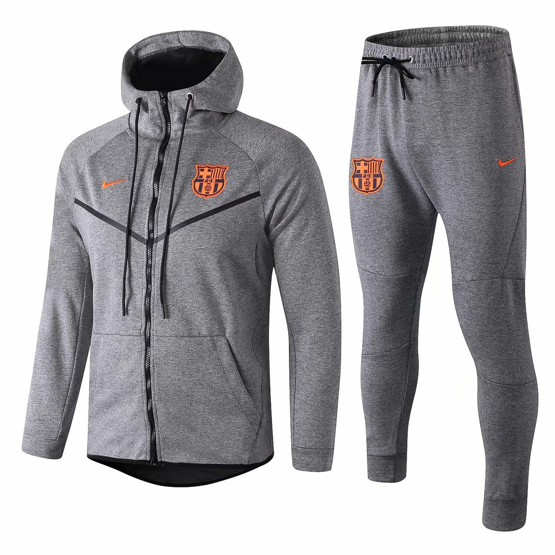 e00897faaf8b US  44.8 - Barcelona Tech Fleece Hoodie Jacket + Pants Training Suit Grey  2018 19 - www.fcsoccerworld.com