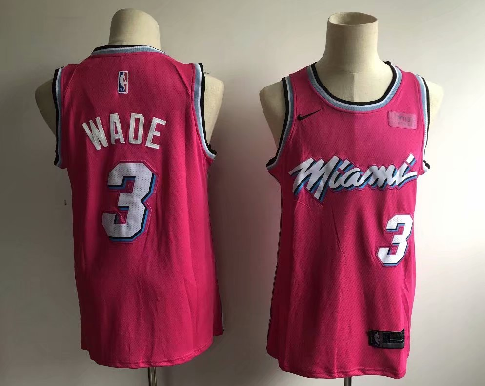 official photos 65ca7 f9d2a Men's Miami Heat Dwyane Wade 3 Fanatics Branded Pink Fast Break Replica  Jersey
