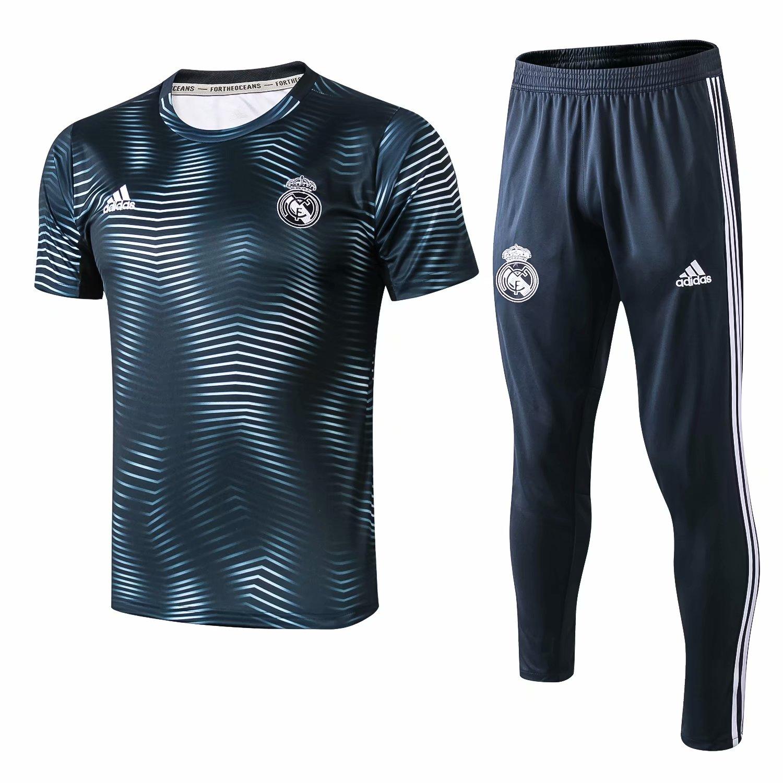 61e2f17ba US  29.8 - Real Madrid Short Training Set Blue Wave 2018 19 -  www.fcsoccerworld.com