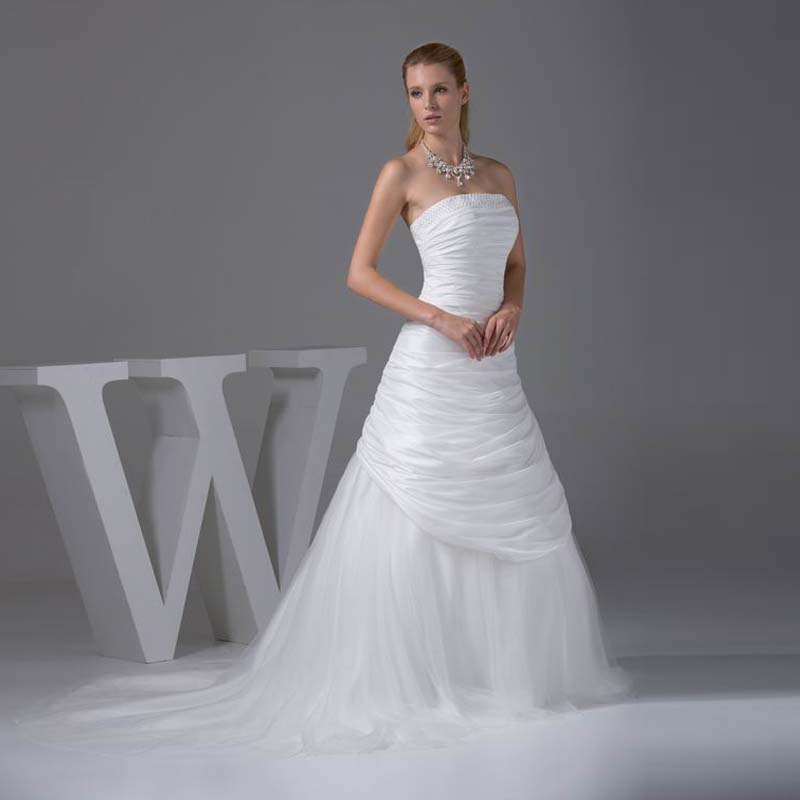 High Quality Strapless Taffeta Bridal Dress With Pearls A-line Style ...