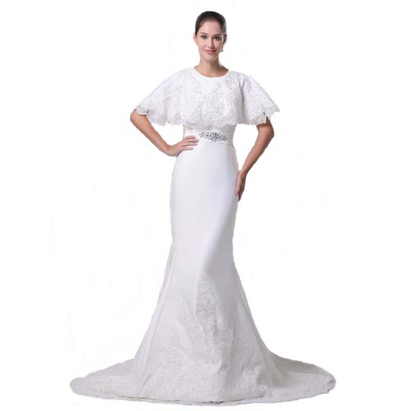 European American Style 2017 Designer Wedding Dress With Short Cape ...