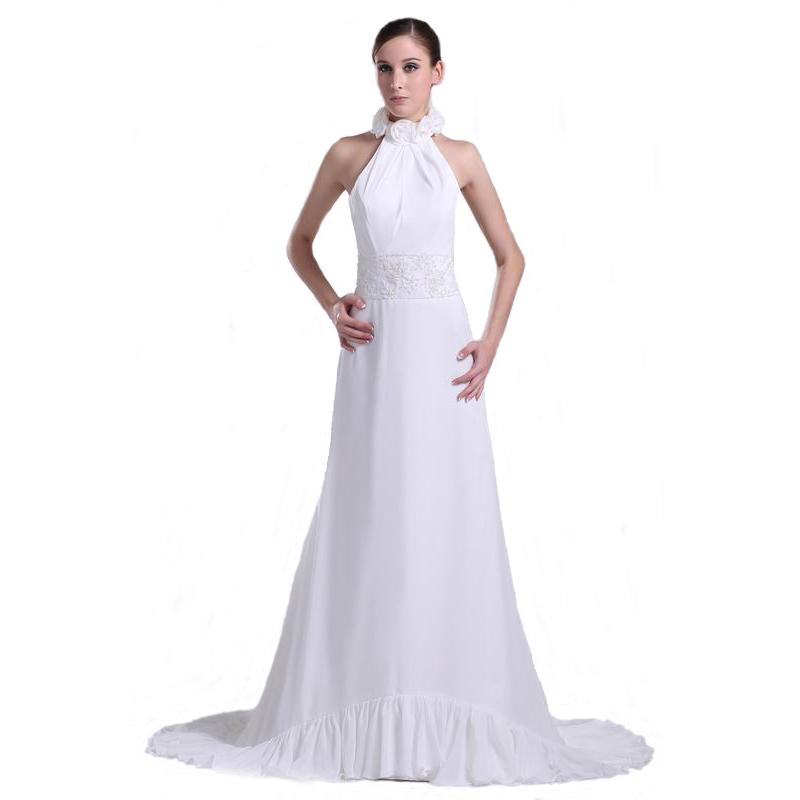2017 New Style White Wedding Dress Halter Handmade Flower Mermaid ...