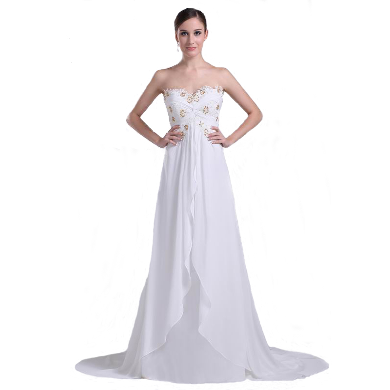 2017 Modern Bridal Gown Long Length White Chiffon With Beaded Lace ...