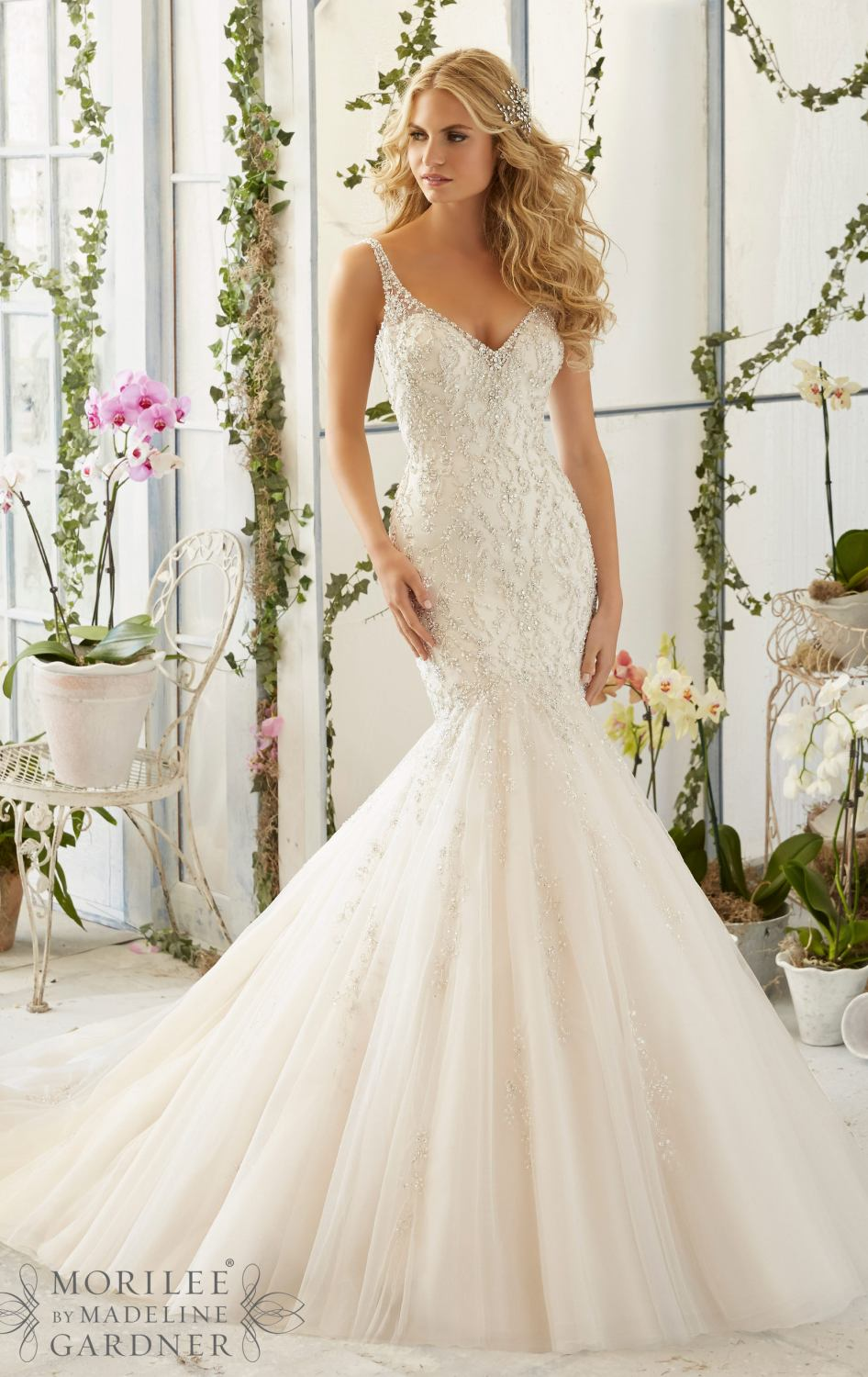 Mori Lee Brand Fashion Beaded Wedding Gown European American ...