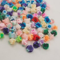 10PCS/lot  8mm Kawaii Polymer Clay Fimo Rose Flower Chunky Flatback Beads Diy Hair Headband Decorate Jewelry Findings