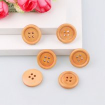50PCS 4 Holes 18mm  Natural Light brown Wooden Buttons Accessories