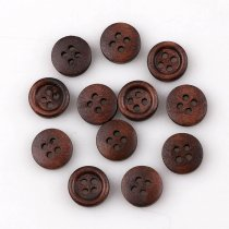 50PCS 4 Holes10mm  Small Size Dark Coffee  Wooden Buttons