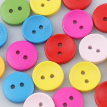 50PCS 2 And 4-Holes 13mm Wooden Buttons Mixed Color   DIY decoration