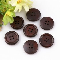 50PCS 4 Holes 18mm  Dark Coffee  Wooden Buttons