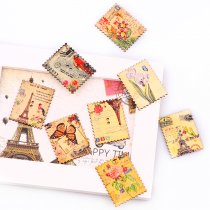 30PCS 2 Holes 30*38mm square Colorful  Vintage Style  Stamp Wood Buttons
