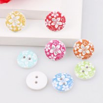 50PCS 2 Holes 13mm Small Flowers  Wooden  Buttons DIY Accessories