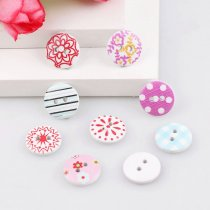 50PCS 2 Holes 13mm Mixed Style  Cute  Wooden Buttons DIY