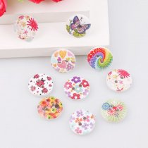50PCS 2 Holes13mm Colorful Style Wooden  Buttons DIY Accessories