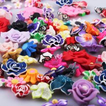 Wholesale 50PCS Mix color Mix size  Flat Back Polymer Clay Fimo  Flowers Fit DIY Hair Supplies