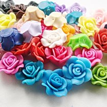 10PCS/lot  25*9mm Kawaii Polymer Clay Fimo Flower Chunky Resin Flatback Beads DiyHair Headband