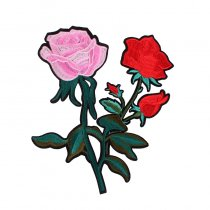 Beautiful Pink Red  Flowers Patches Iron On Embroidered Patch For Clothing Stick On Badge Paste For Clothes Sew On Bag Pants
