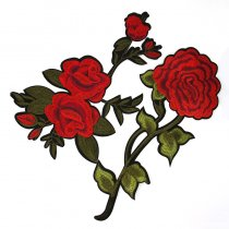 1PCS 15.7X24.5CM Big Size  Rose Flower Leaves Embroidery Iron On Applique Patch Sew On Patch Craft Sewing Repair Embroidered