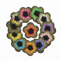 6Pcs Fashion Flower Shape Embroidered Patch Iron On Patch Sewing Plant Applique Badge Clothes Patch Stickers Apparel