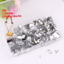 About 200pcs/box Mix 14 Shapes Hand Sew Drilling Transparent White Acrylic Rhinestones